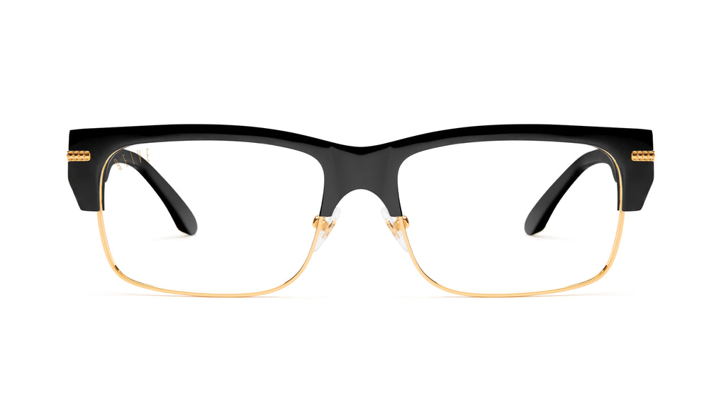 9FIVE Greens LX Black & 24K Gold Clear Lens Glasses Rx