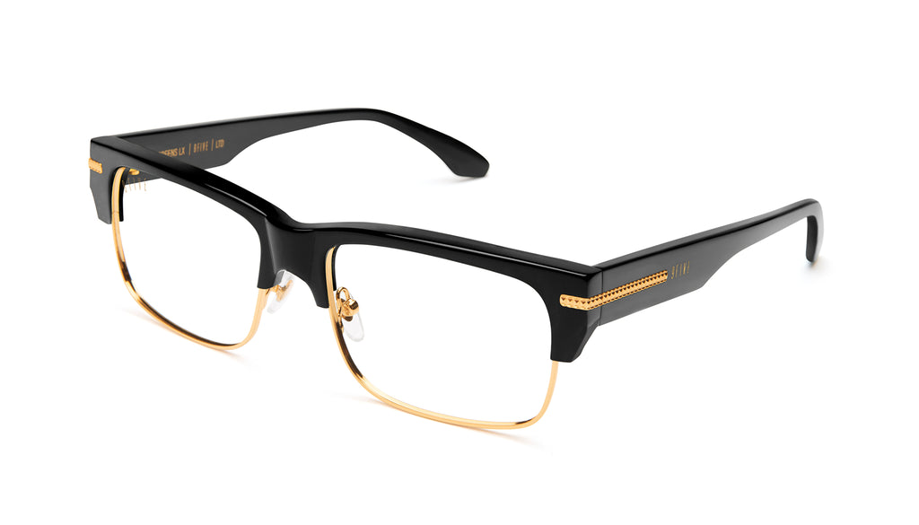 9FIVE Greens LX Black & 24K Gold Clear Lens Glasses