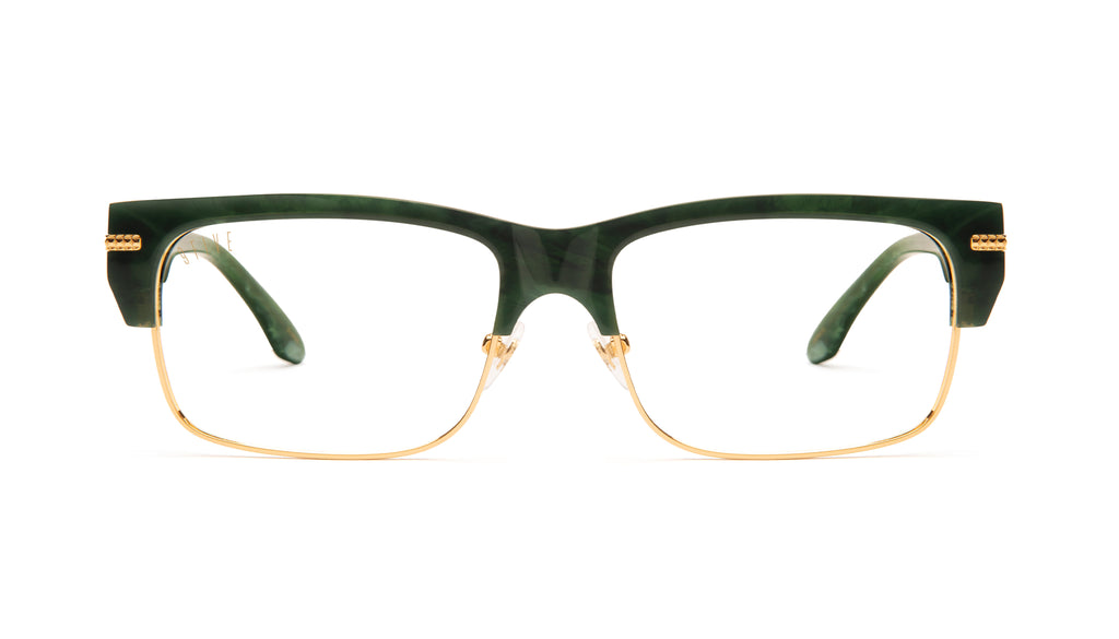 9FIVE Greens LX Jade Stone & 24K Gold Clear Lens Glasses Rx