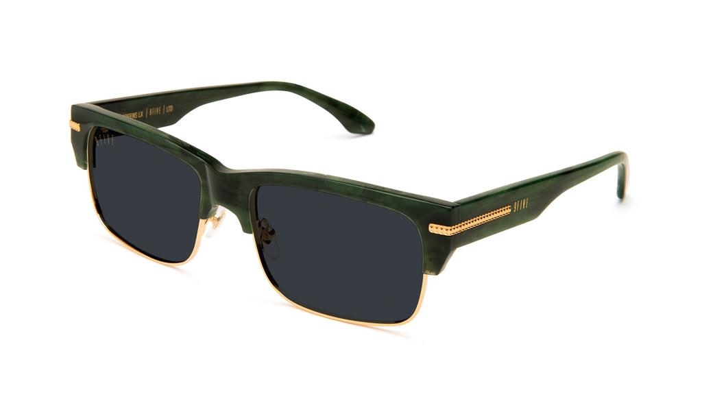 9FIVE Greens LX Jade Stone & 24K Gold Sunglasses