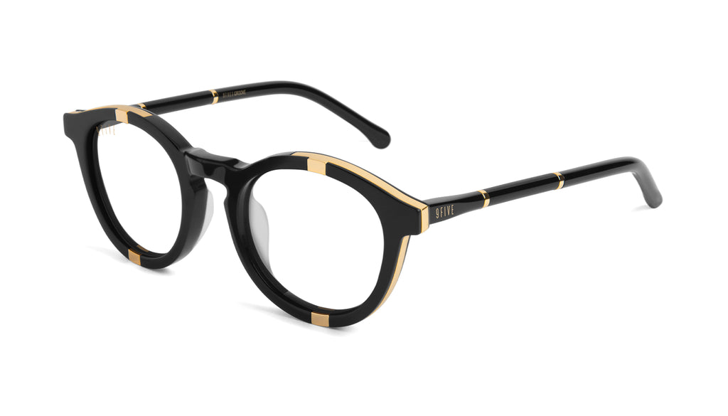 9FIVE Groove Black & 24k Gold Clear Lens Glasses