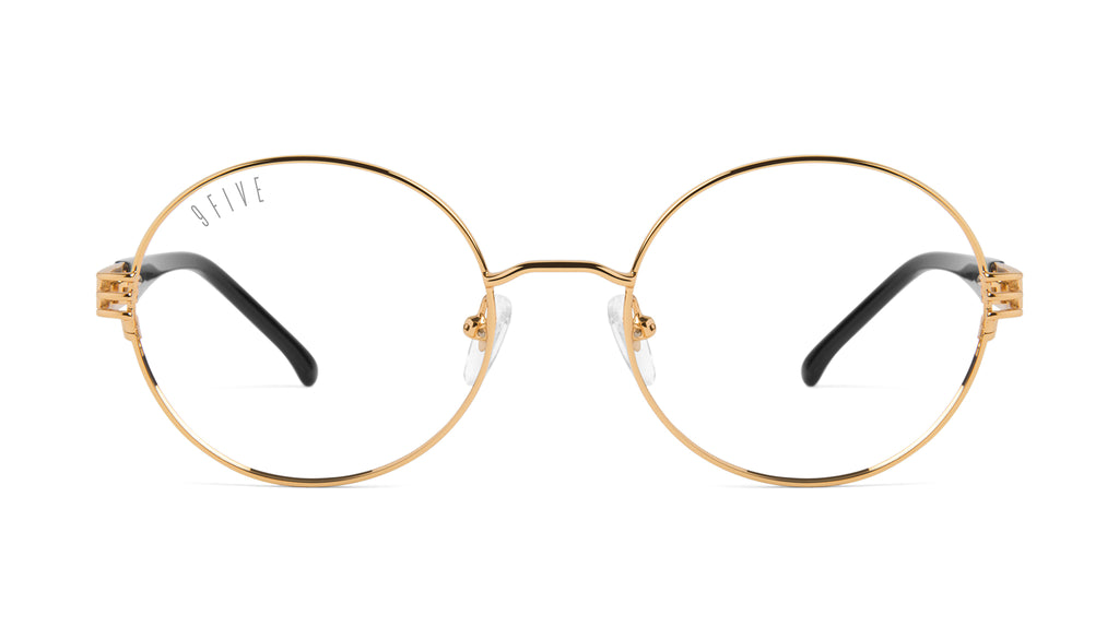 9FIVE Iris Black & 24K Gold Clear Lens Glasses Rx