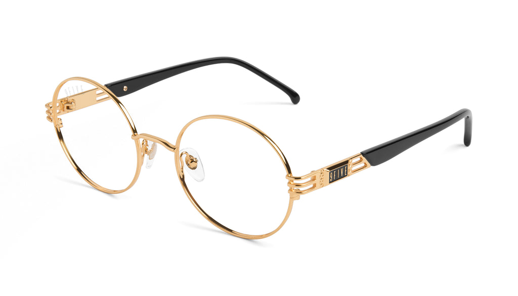 9FIVE Iris Black & 24K Gold Clear Lens Glasses