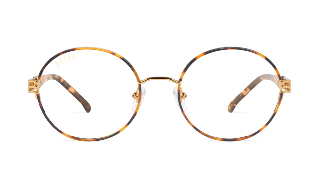 9FIVE Iris Tortoise & 24K Gold Clear Lens Glasses Rx