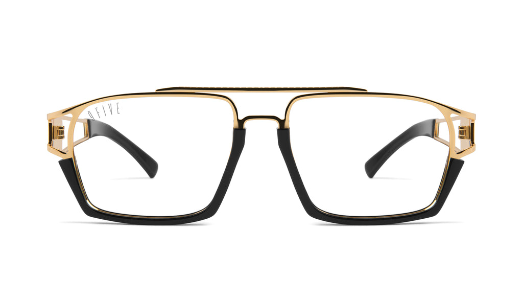 9FIVE Kingpin Black & 24k Gold Clear Lens Glasses