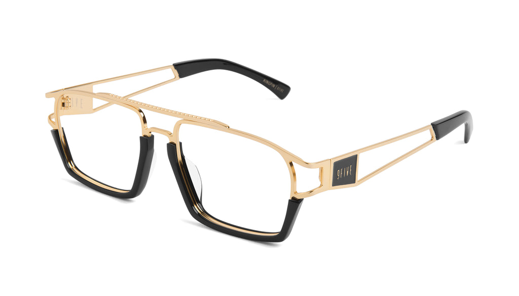 9FIVE Kingpin Black & 24k Gold Clear Lens Glasses Rx