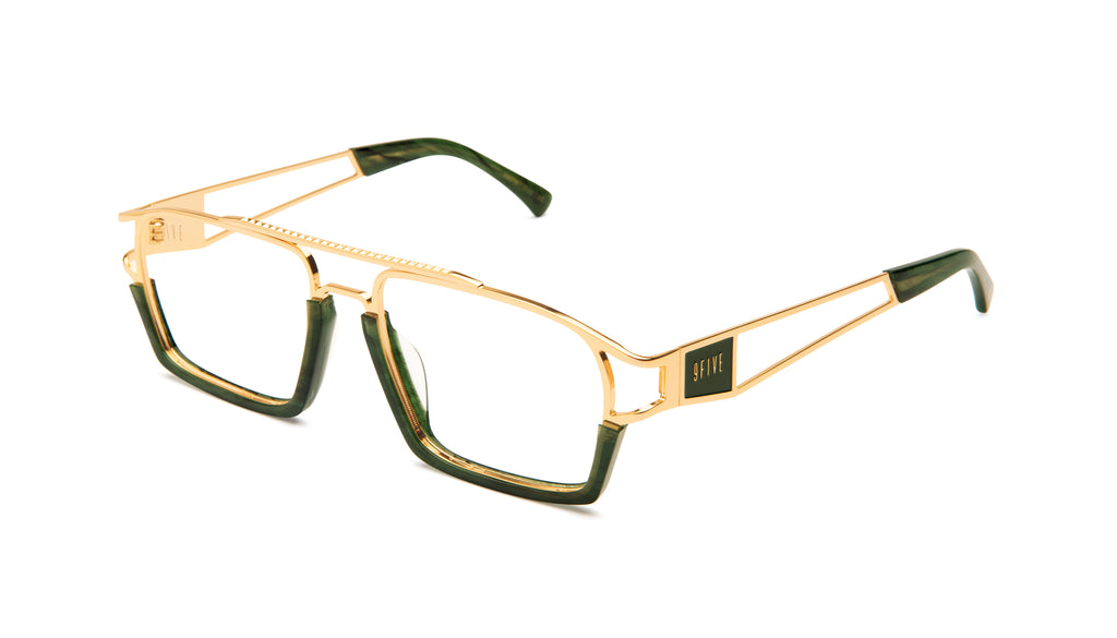 9FIVE Kingpin Jade Stone & 24k Gold Clear Lens Glasses Rx