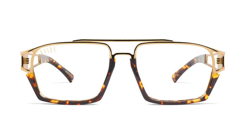9FIVE Kingpin Tortoise & 24k Gold Clear Lens Glasses