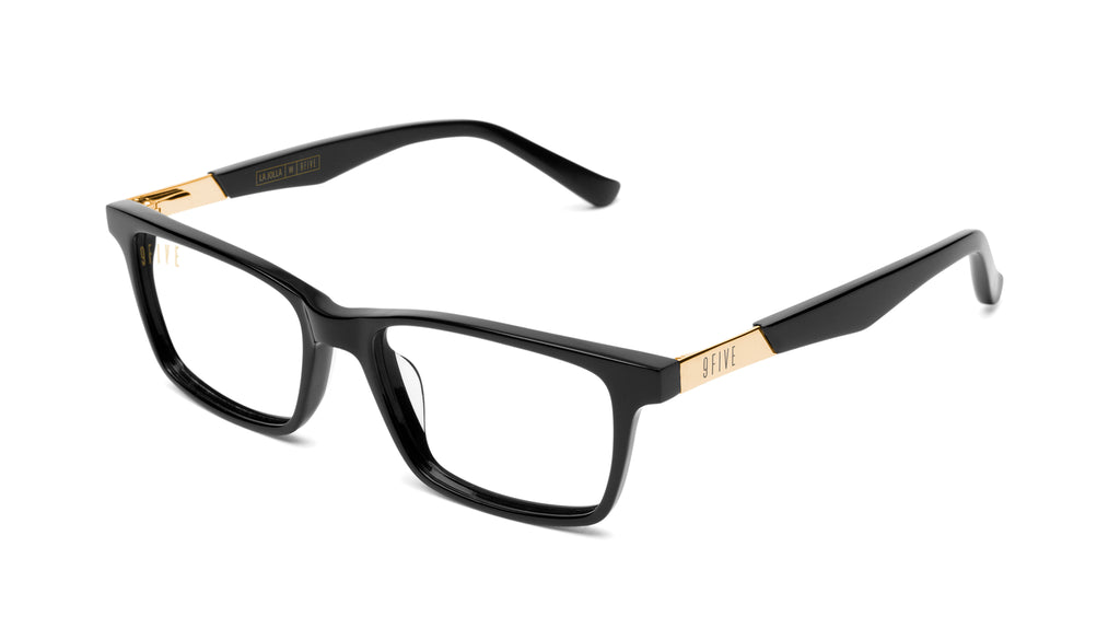 9FIVE La Jolla Black & 24K Gold Clear Lens Glasses Rx