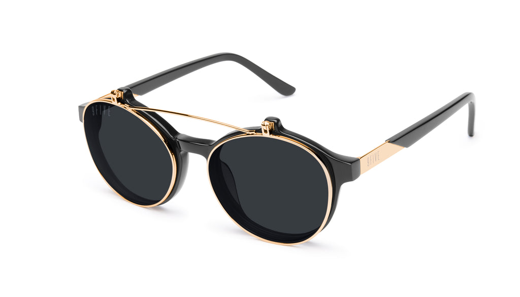 9FIVE Lane Black & 24K Gold Flip-up Glasses