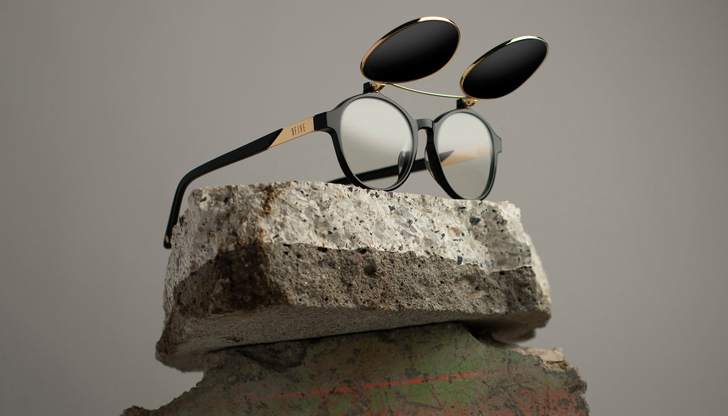 9FIVE Lane Black & 24K Gold Flip-up Sunglasses Rx