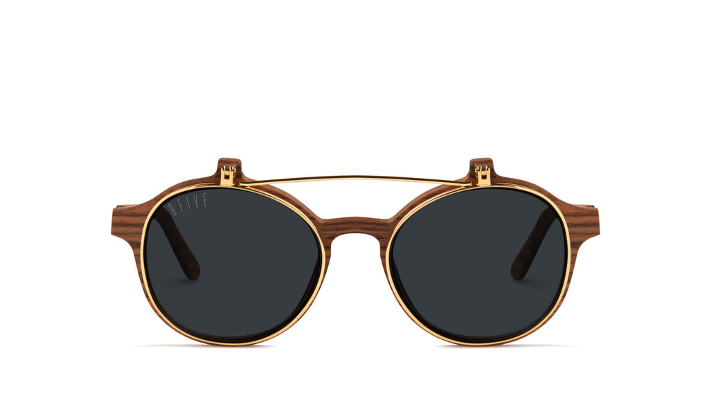 9FIVE Lane Wood & 24K Gold Flip-up Glasses