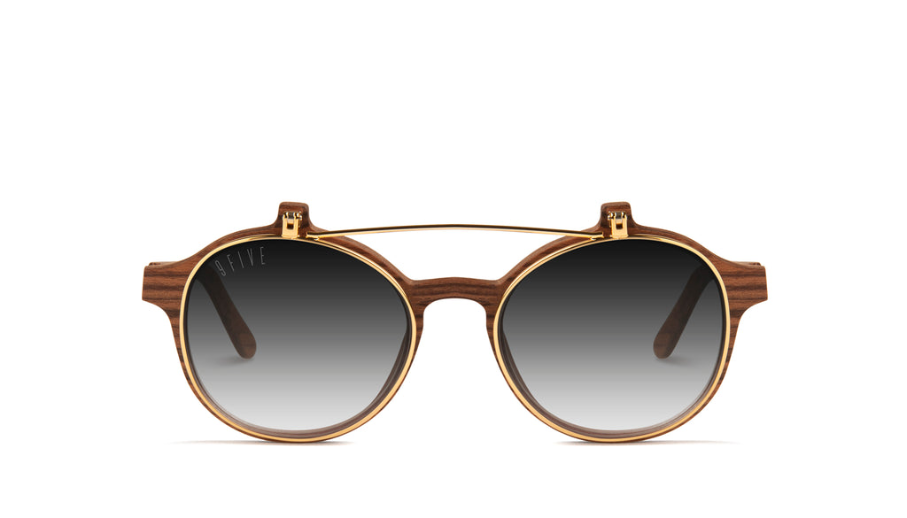 9FIVE Lane Wood & 24K Gold Flip-up - Gradient Sunglasses
