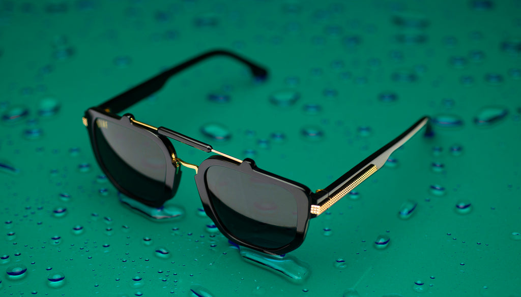 9FIVE Lawrence Black & 24k Gold Sunglasses Rx