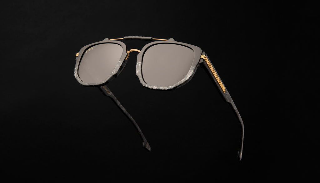 9FIVE Lawrence Black Marble & 24K Gold Sunglasses