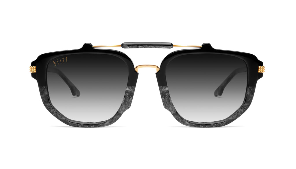 9FIVE Lawrence Black Marble & 24K Gold - Gradient Sunglasses