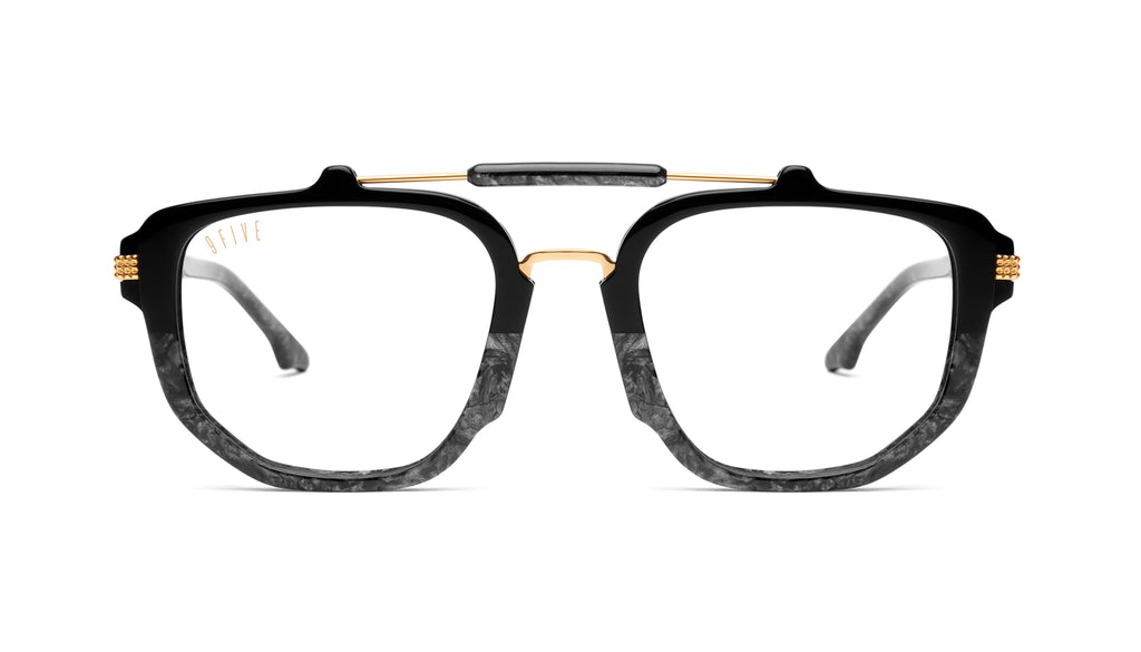 9FIVE Lawrence Black Marble & 24K Gold Clear Lens Glasses Rx