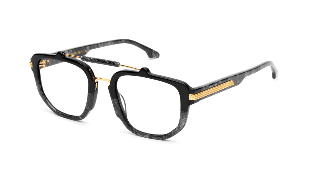 9FIVE Lawrence Black Marble & 24K Gold Clear Lens Glasses
