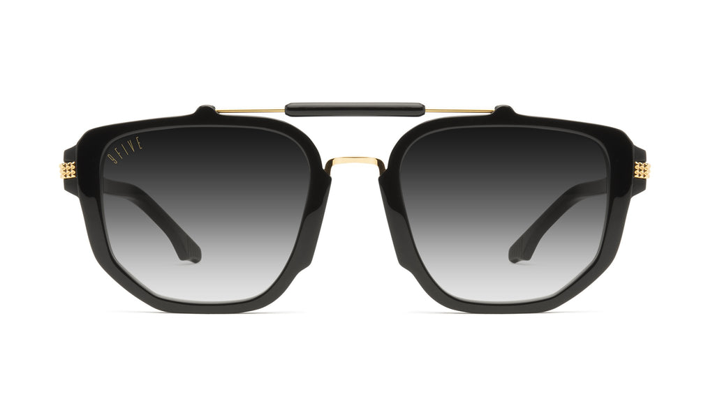 9FIVE Lawrence Black & 24k Gold - Gradient Sunglasses