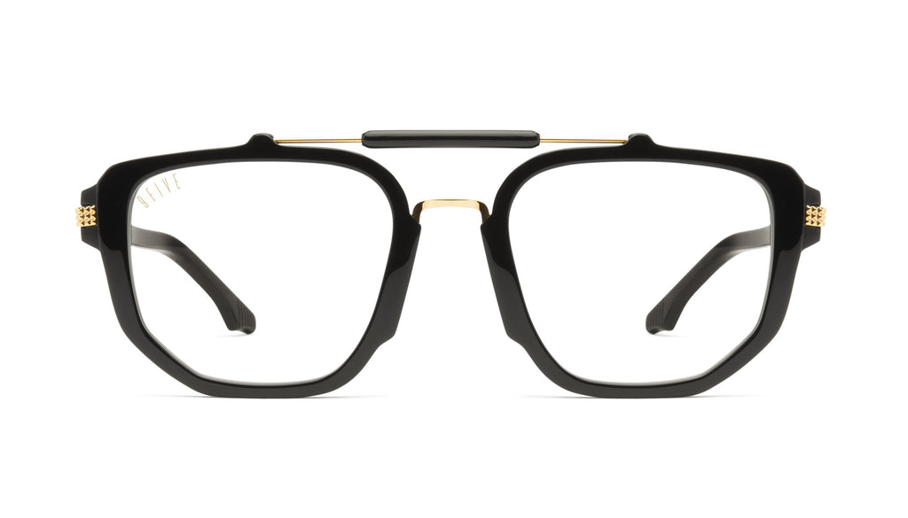 9FIVE Lawrence Black & 24K Gold Clear Lens Glasses Rx