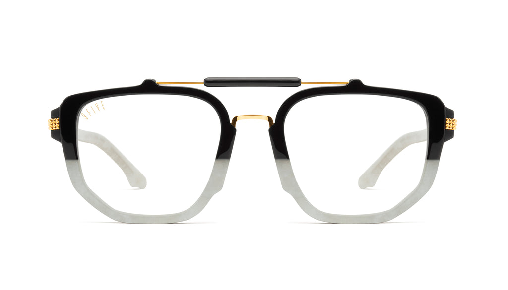 9FIVE Lawrence Marble Croc & 24k Gold Clear Lens Glasses