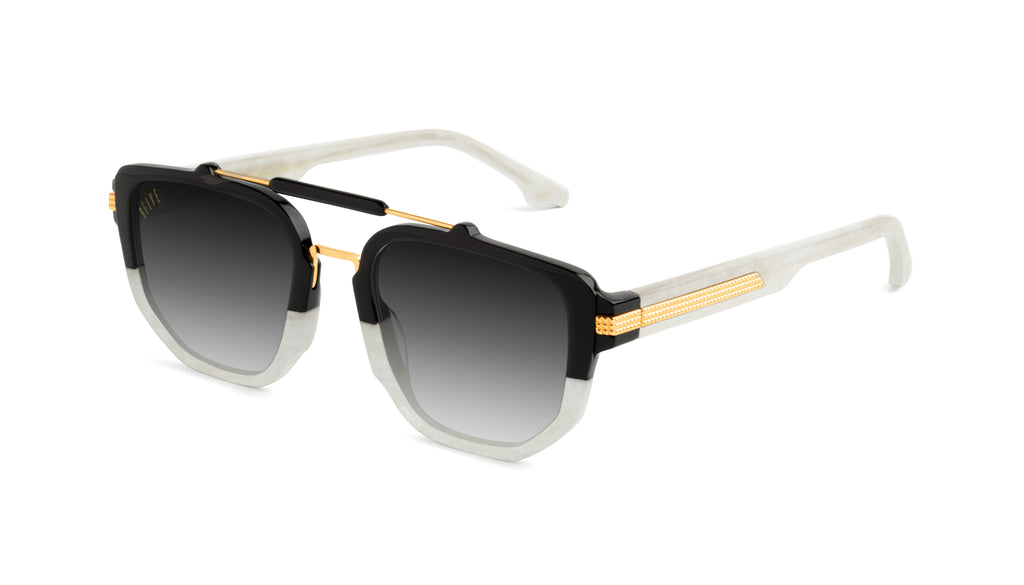 9FIVE Lawrence Marble Croc & 24k Gold - Gradient Sunglasses