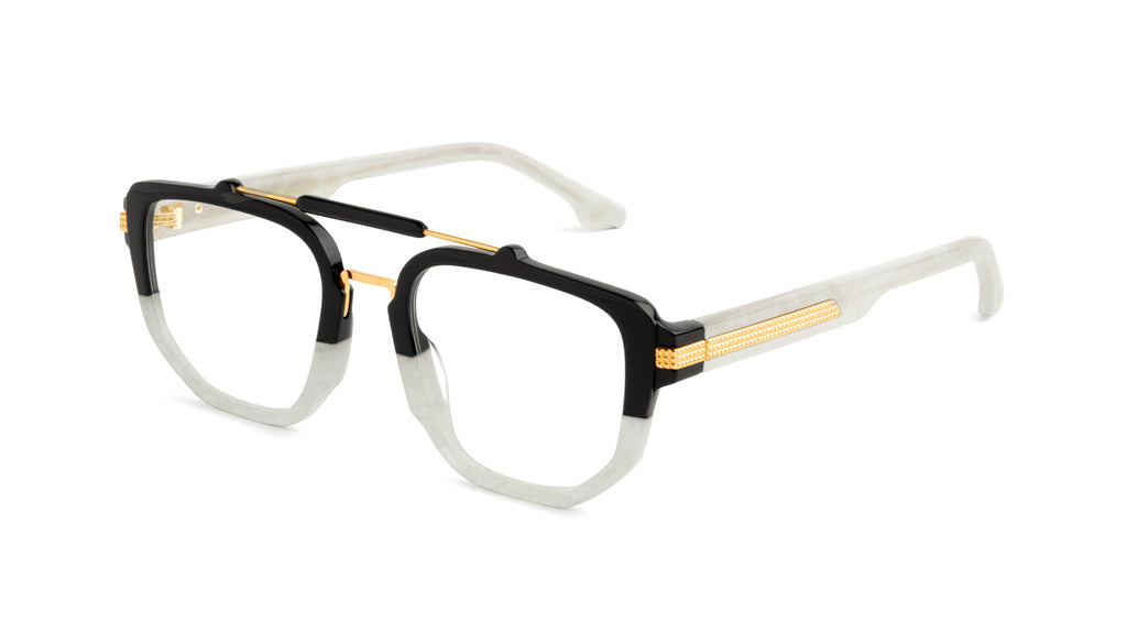 9FIVE Lawrence Marble Croc & 24K Gold Clear Lens Glasses Rx
