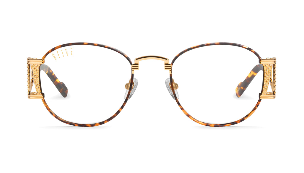 9FIVE Legacy Tortoise & 24k Gold Clear Lens Glasses Rx