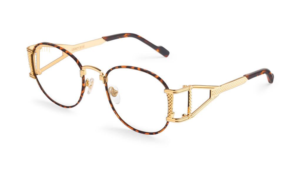 9FIVE Legacy Tortoise & 24k Gold Clear Lens Glasses