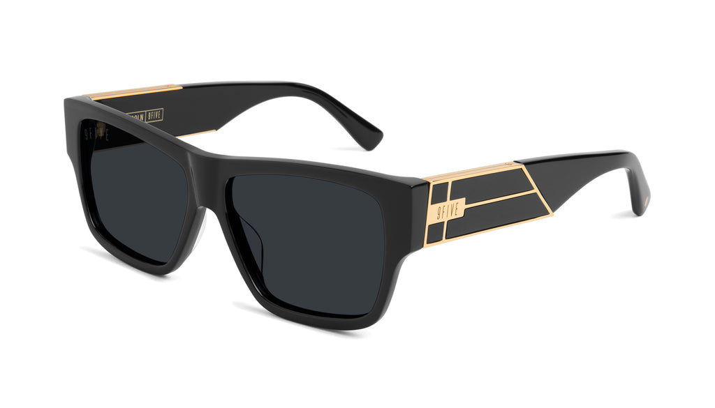 9FIVE Lincoln Black & 24k Gold Sunglasses