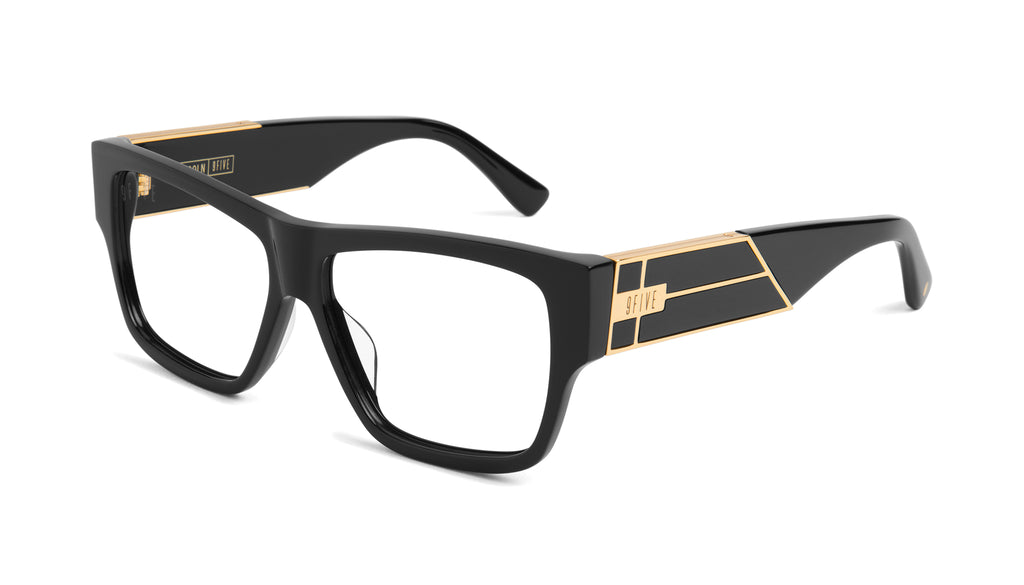 9FIVE Lincoln Black & 24k Gold Clear Lens Glasses