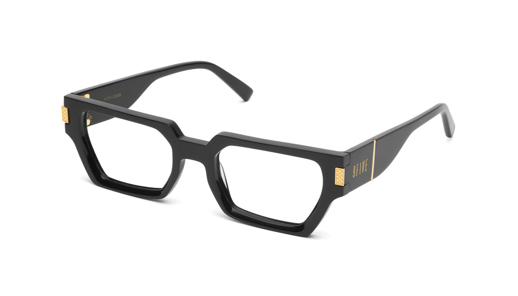 9FIVE Locks Black & 24K Gold Clear Lens Glasses