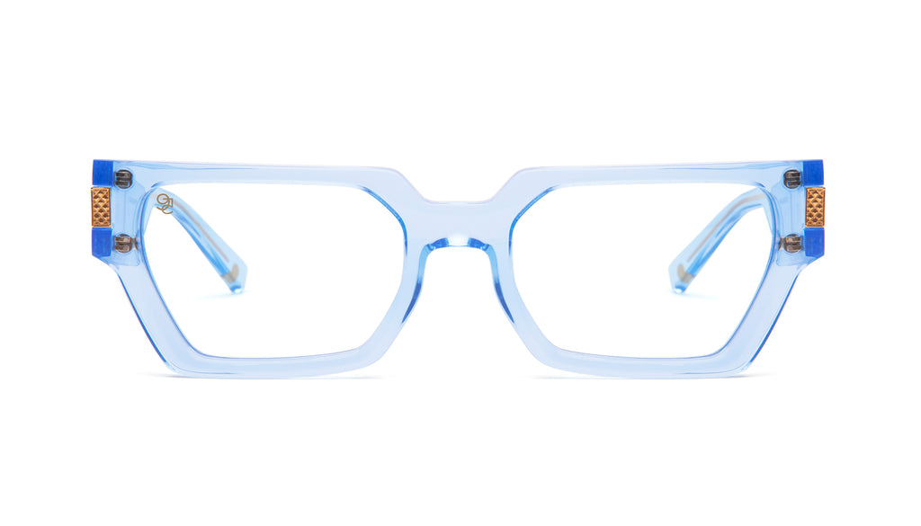 9FIVE Locks Crystal Blue & 24K Gold Clear Lens Glasses