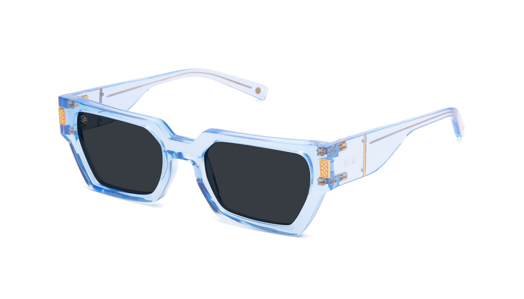 9FIVE Locks Crystal Blue & 24k Gold Sunglasses Rx