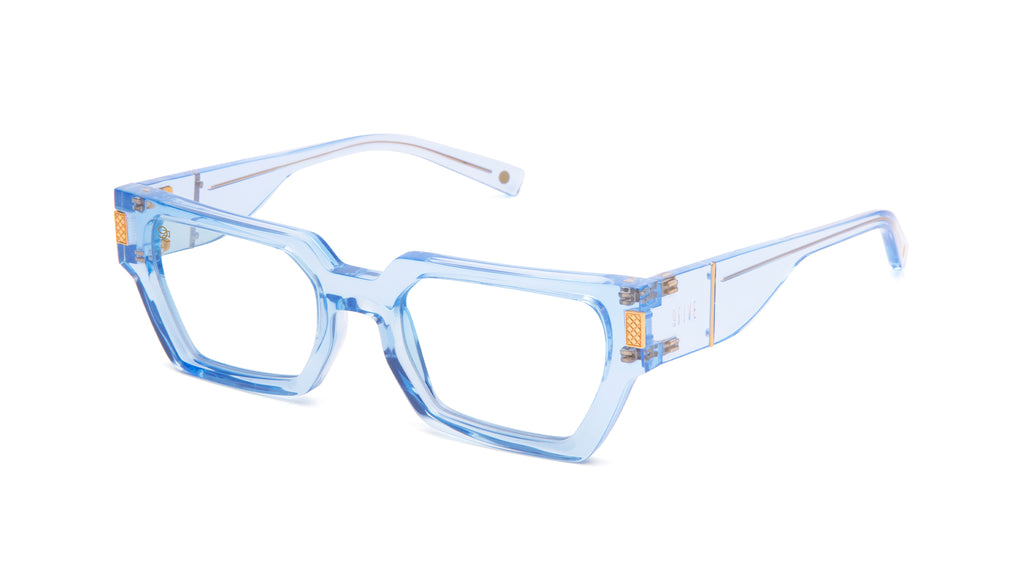9FIVE Locks Crystal Blue & 24k Gold Clear Lens Glasses Rx