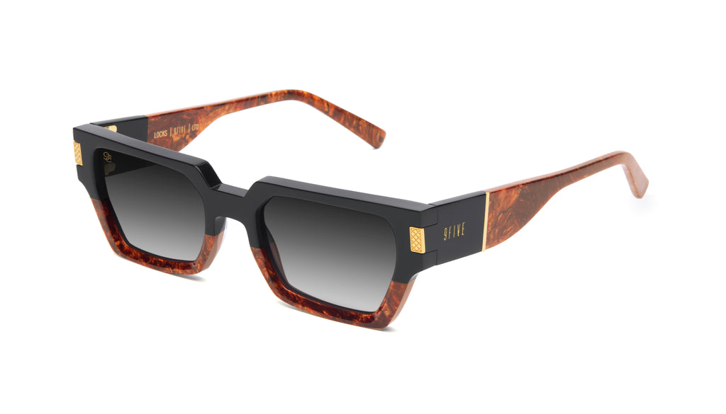 9FIVE Locks Gold Marble & 24K Gold - Gradient Sunglasses