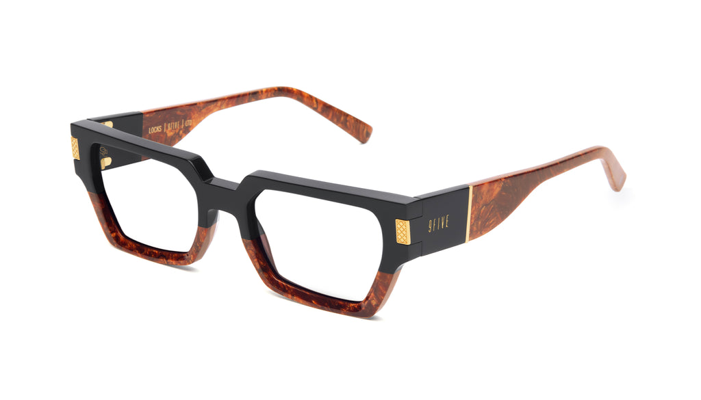 9FIVE Locks Gold Marble & 24K Gold Clear Lens Glasses