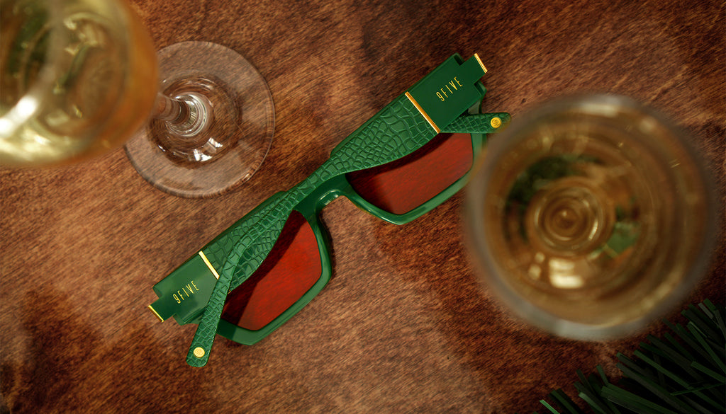 9FIVE Locks Lucky Green & 24K Gold - Red Sunglasses