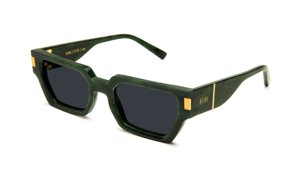 9FIVE Locks Jade Stone & 24K Gold Sunglasses