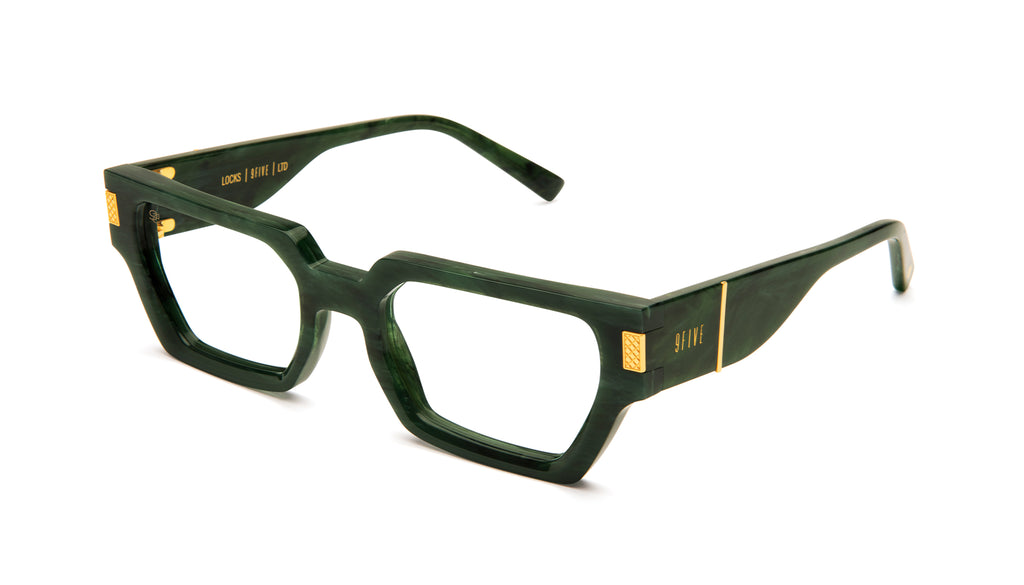 9FIVE Locks Jade Stone & 24K Gold Clear Lens Glasses