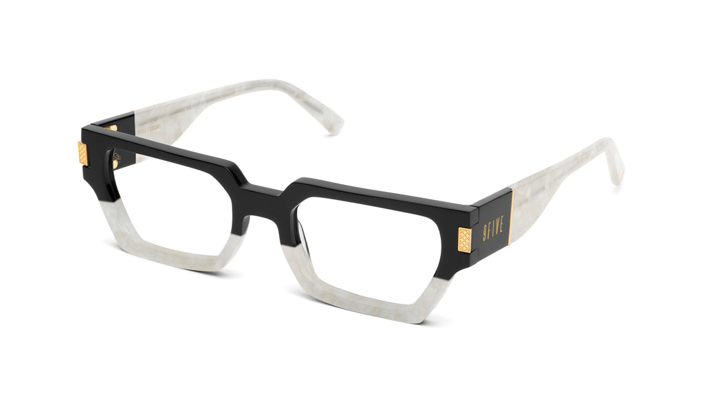 9FIVE Locks Marble Croc & 24K Gold Clear Lens Glasses