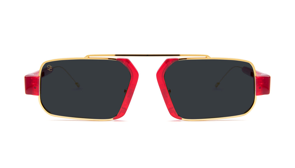 9FIVE Logan Transparent Red & 24K Gold Sunglasses Rx