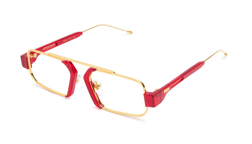 9FIVE Logan Transparent Red & 24K Gold Clear Lens Glasses Rx