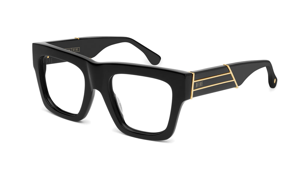 9FIVE Lucy Black & 24k Gold Clear Lens Glasses Rx