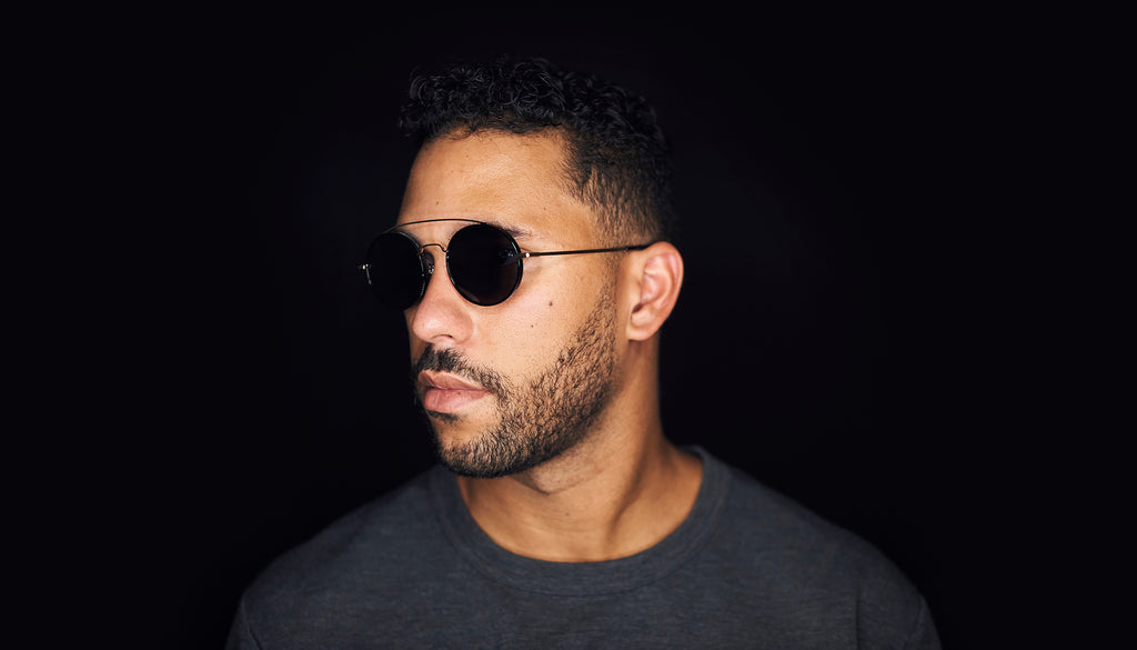 9FIVE 50-50 Black & 24K Gold Round Sunglasses