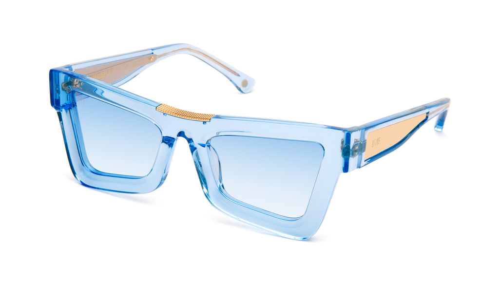 9FIVE Marauder Crystal Blue & 24k Gold - Blue Gradient Sunglasses