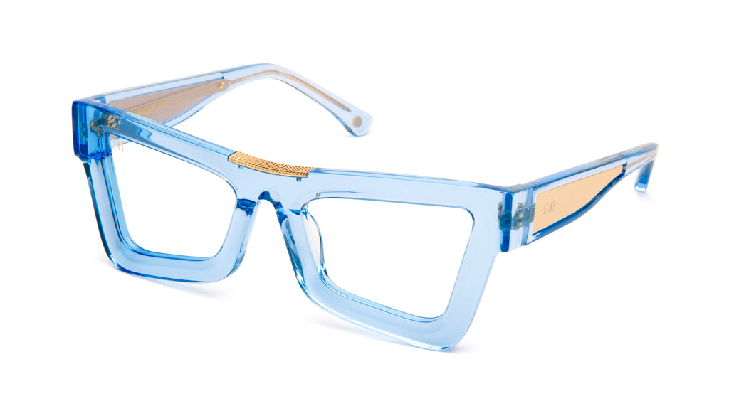 9FIVE Marauder Crystal Blue & 24k Gold Clear Lens Glasses