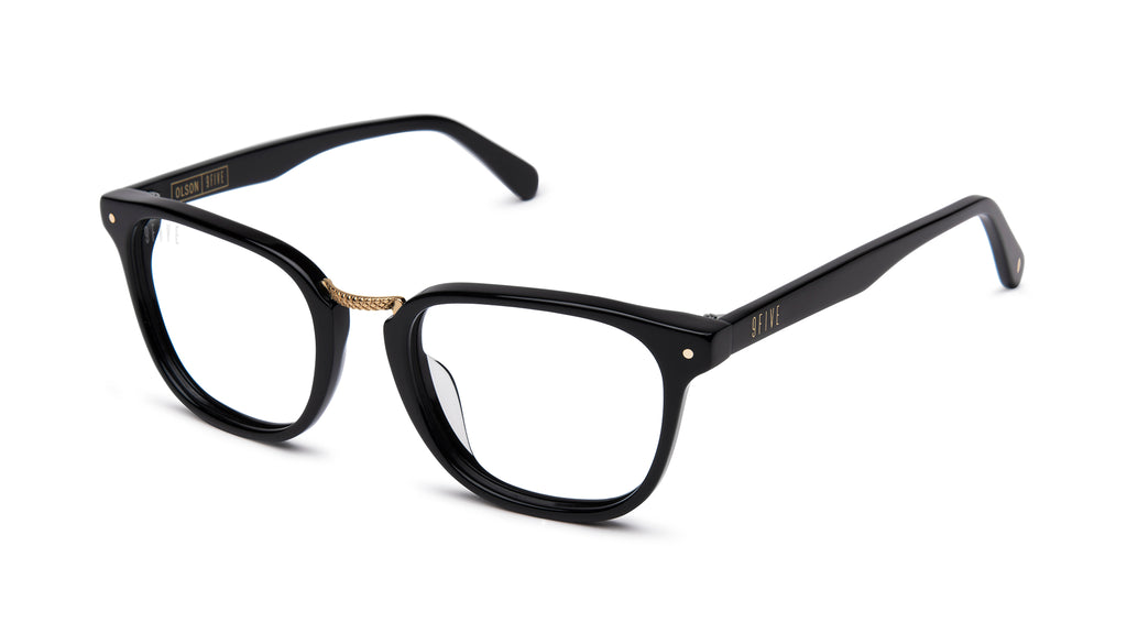 9FIVE Olson Black & 24K Gold Clear Lens Glasses