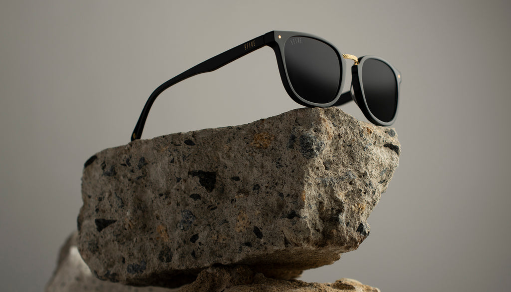 9FIVE Olson Black & 24K Gold Sunglasses