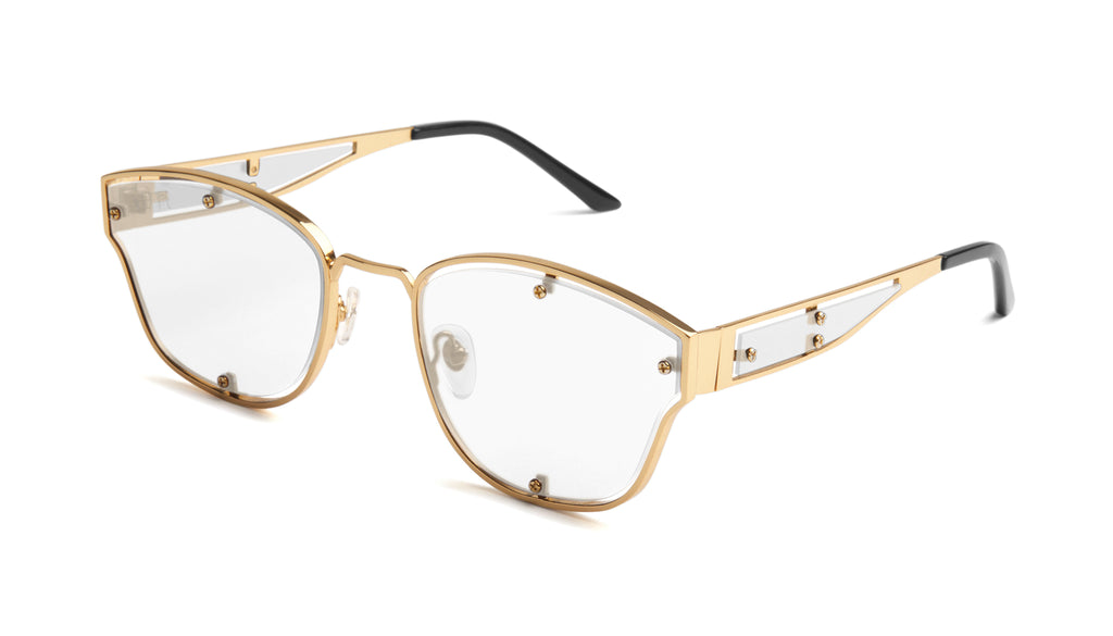 9FIVE Orion Black & 24k Gold Clear Lens Glasses